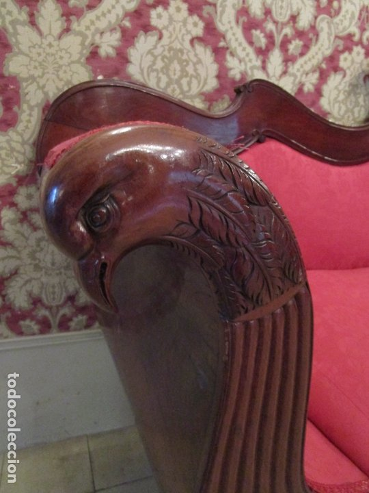 Antigüedades: Antiguo Canapé Imperio - Sofá - Madera de Caoba - Decoración con Talla en forma de Cisnes - S.XIX - Foto 6 - 177189888