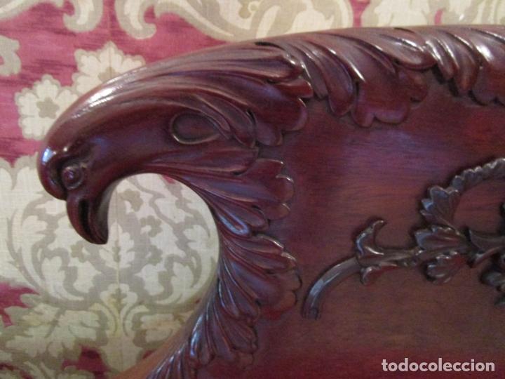 Antigüedades: Antiguo Canapé Imperio - Sofá - Madera de Caoba - Decoración con Talla en forma de Cisnes - S.XIX - Foto 15 - 177189888