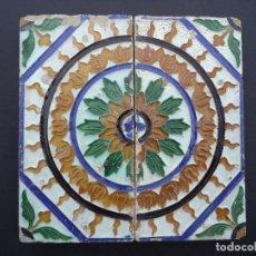 Antigüedades: 2 AZULEJOS/BALDOSAS DE TECTO, TÉCNICA CORDA SECA / ARESTA, SÉC XVII/XVIII. Lote 177196204