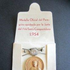 Antigüedades: ANTIGUA MEDALLA OFICIAL PEREGRINO. AÑO SANTO COMPOSTELANO. AÑO 1954. SANTIAGO.. Lote 177198654