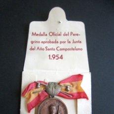 Antigüedades: ANTIGUA MEDALLA OFICIAL PEREGRINO. AÑO SANTO COMPOSTELANO. AÑO 1954. SANTIAGO. . Lote 177198850