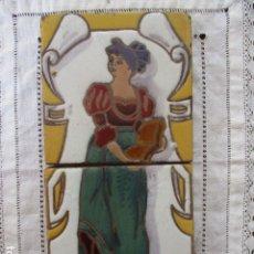 Antigüedades: PAREJA DE AZULEJOS CUERDA SECA. Lote 177203792