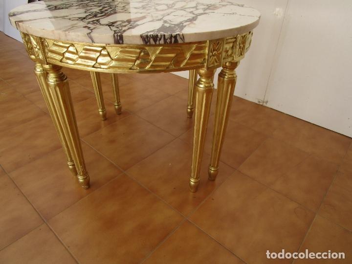 Antigüedades: Mesa de Centro - Madera tallada y Dorada en Pan de Oro - sobre de Mármol - 80 cm Diámetro - Foto 6 - 191060413