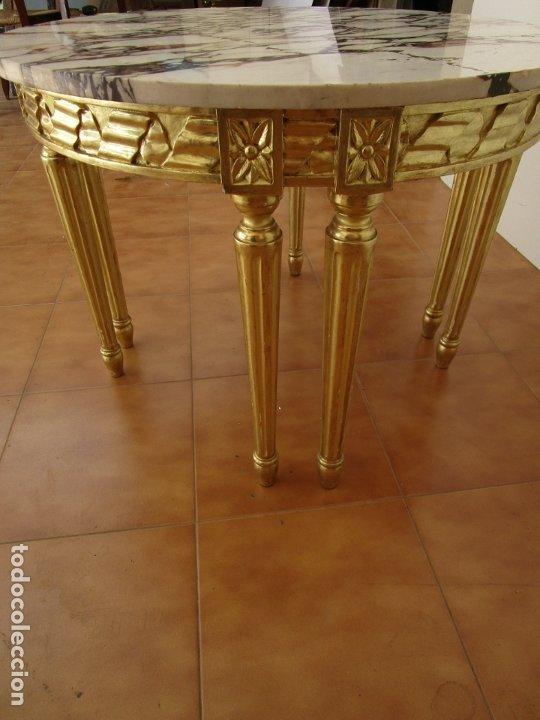 Antigüedades: Mesa de Centro - Madera tallada y Dorada en Pan de Oro - sobre de Mármol - 80 cm Diámetro - Foto 7 - 191060413