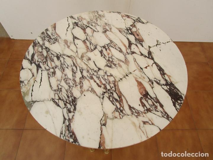 Antigüedades: Mesa de Centro - Madera tallada y Dorada en Pan de Oro - sobre de Mármol - 80 cm Diámetro - Foto 10 - 191060413