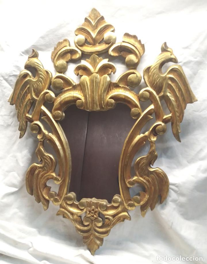 ESPEJO CORNUCOPIA TALLA MADERA DORADA PAN DE ORO. MED. 54 X 70 CM (Antigüedades - Muebles Antiguos - Cornucopias Antiguas)