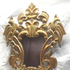 Antigüedades: ESPEJO CORNUCOPIA TALLA MADERA DORADA PAN DE ORO. MED. 54 X 70 CM. Lote 177218162