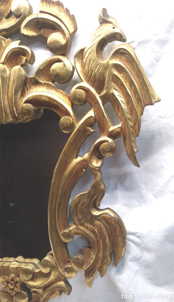 Antigüedades: Espejo Cornucopia talla madera dorada pan de oro. Med. 54 x 70 cm - Foto 2 - 177218162