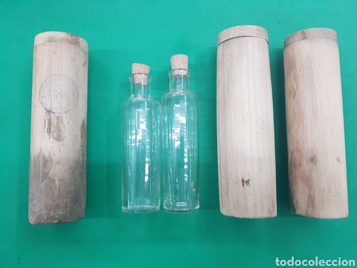 NACHER ,LOTE DE 3 ESTUCHES DE MADERA Y DOS BOTELLAS DE PERFUME DE FARMACIA , PRINCIPIOS DE 1900 (Antigüedades - Cristal y Vidrio - Farmacia )