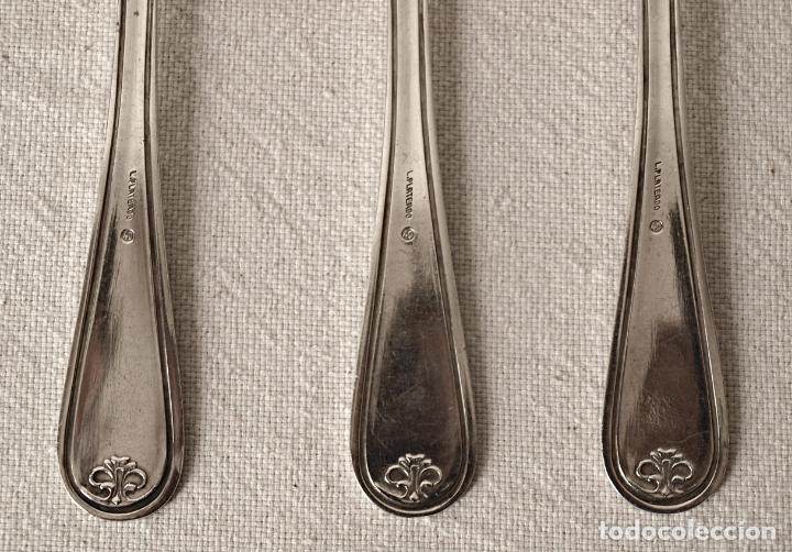 Antigüedades: JUEGO DE 6 CUCHARAS DE METAL PLATEADO. 20,5 CM LARGO. VER FOTOS Y DESCRIPCION - Foto 9 - 177323484