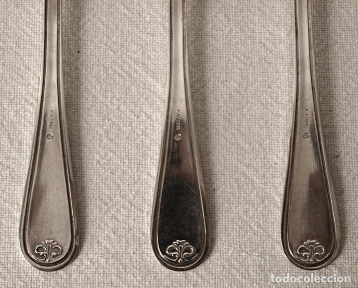 Antigüedades: JUEGO DE 6 CUCHARAS DE METAL PLATEADO. 20,5 CM LARGO. VER FOTOS Y DESCRIPCION - Foto 10 - 177323484