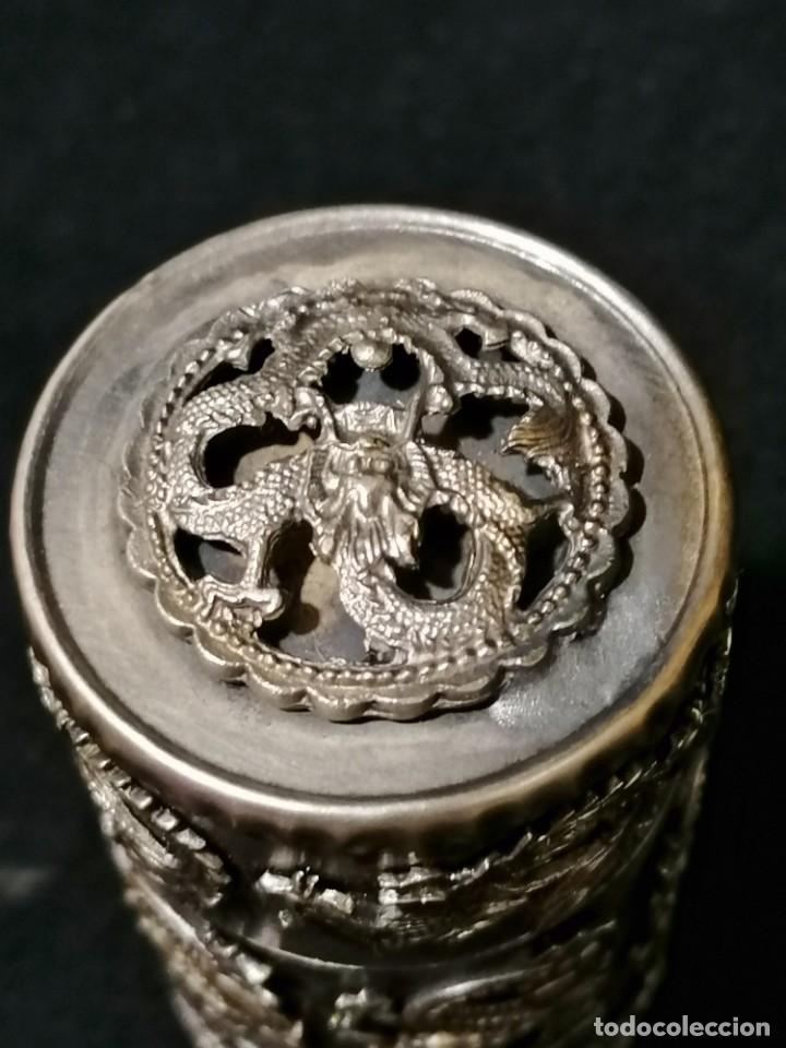 Antigüedades: Antigua caja labrada con magnificos dragones marcaje en la base - Foto 6 - 177336323
