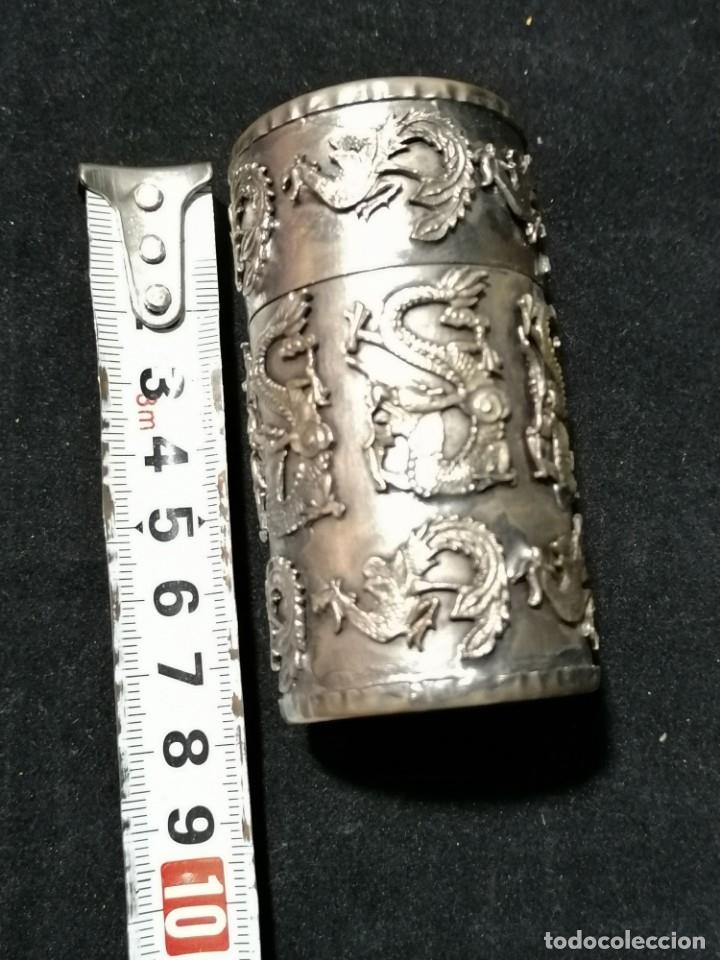 Antigüedades: Antigua caja labrada con magnificos dragones marcaje en la base - Foto 10 - 177336323