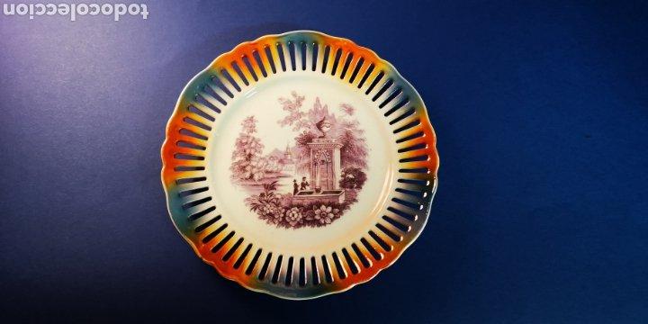 Antigüedades: Plato Chapman de porcelana antiguo con calados. De 1940-1950. - Foto 2 - 177373454