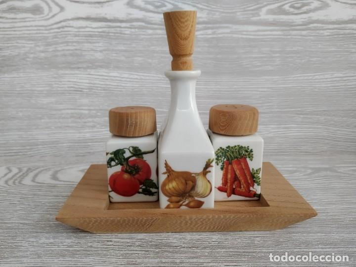 Antigüedades: Juego de mesa, aceite sal y pimienta . Francia, Limoges. Antigüedades - Foto 3 - 177382214