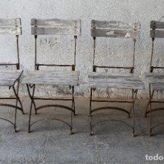 Antiquités: 4 SILLAS PLEGABLES ANTIGUAS EN HIERRO Y MADERA. Lote 177420490