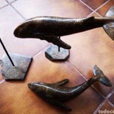 Antigüedades: PAREJA DE BALLENAS EN JADE. Lote 177446048