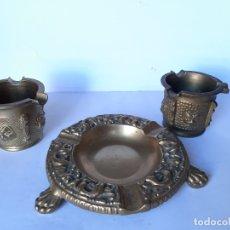 Antigüedades: LOTE DE TRES ANTIGUOS CENICEROS DE BRONCE . Lote 177461457