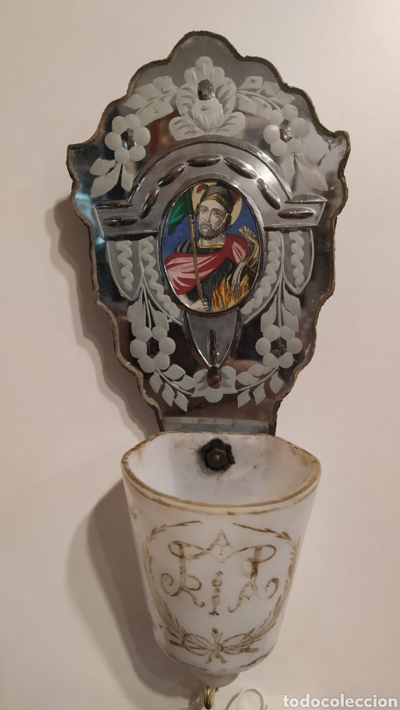 Antigüedades: Benditera antigua La Granja, pila benditera española siglo XVIII. Cristal antiguo. - Foto 3 - 177500572