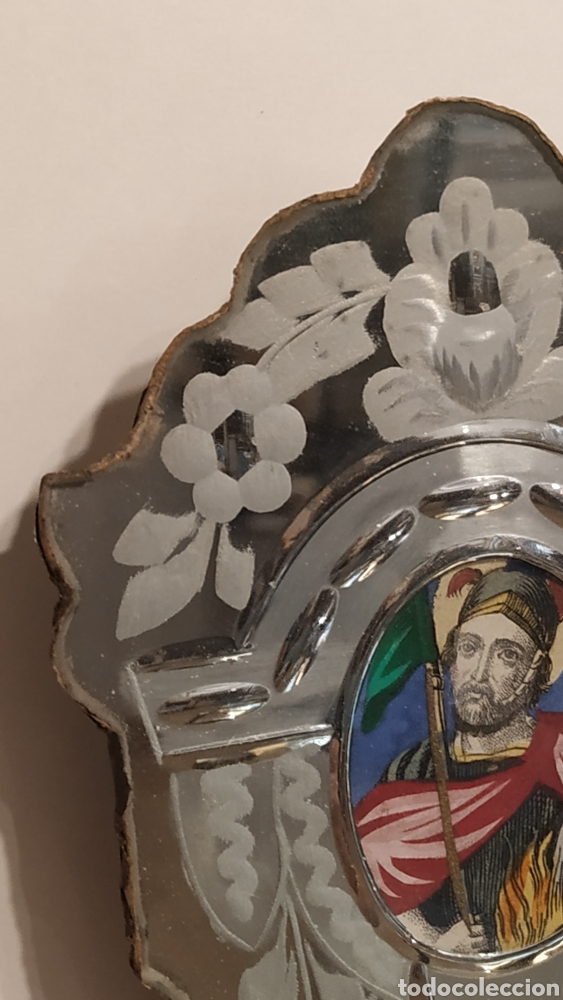 Antigüedades: Benditera antigua La Granja, pila benditera española siglo XVIII. Cristal antiguo. - Foto 4 - 177500572