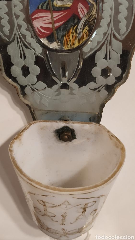 Antigüedades: Benditera antigua La Granja, pila benditera española siglo XVIII. Cristal antiguo. - Foto 5 - 177500572