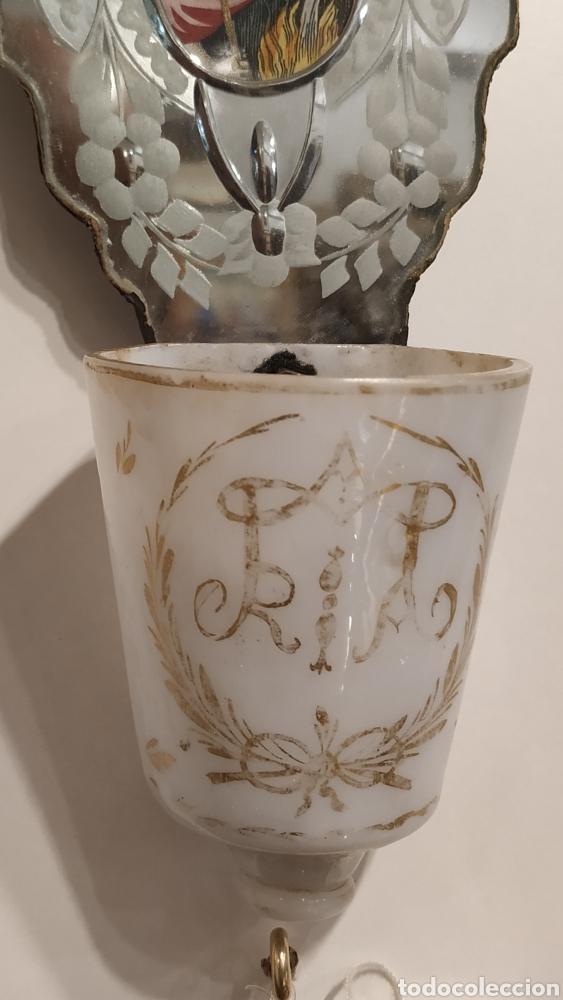Antigüedades: Benditera antigua La Granja, pila benditera española siglo XVIII. Cristal antiguo. - Foto 6 - 177500572