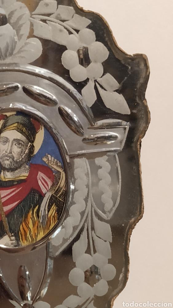 Antigüedades: Benditera antigua La Granja, pila benditera española siglo XVIII. Cristal antiguo. - Foto 10 - 177500572