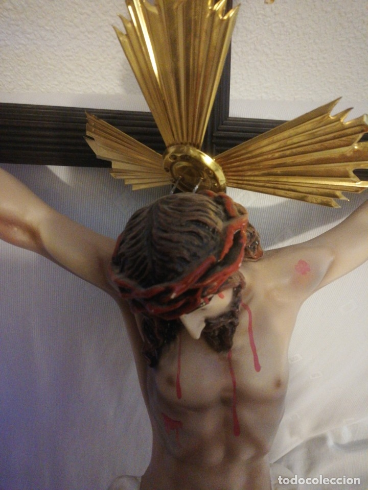Antigüedades: Cristo de pasta de madera , cruz 110 x 60 cm, Cristo 53 x 48 cm - Foto 2 - 177511298