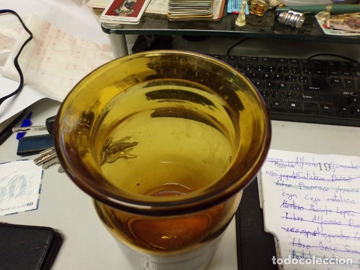 Antigüedades: perfecto tarro cristal soplado de color catalan mide 20 cm alto - Foto 2 - 272146183