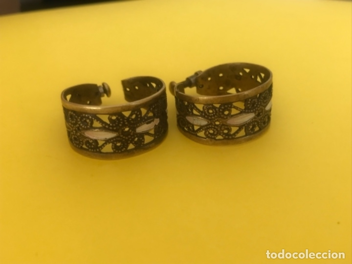 Antigüedades: Antiguos pendientes damasquinados toledo romanos aro tipo anillo bronce ver - Foto 20 - 177546385