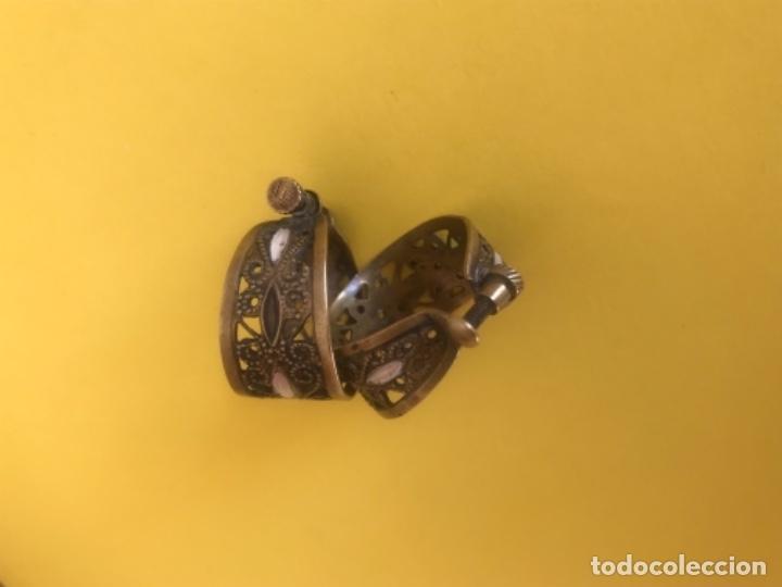 Antigüedades: Antiguos pendientes damasquinados toledo romanos aro tipo anillo bronce ver - Foto 22 - 177546385