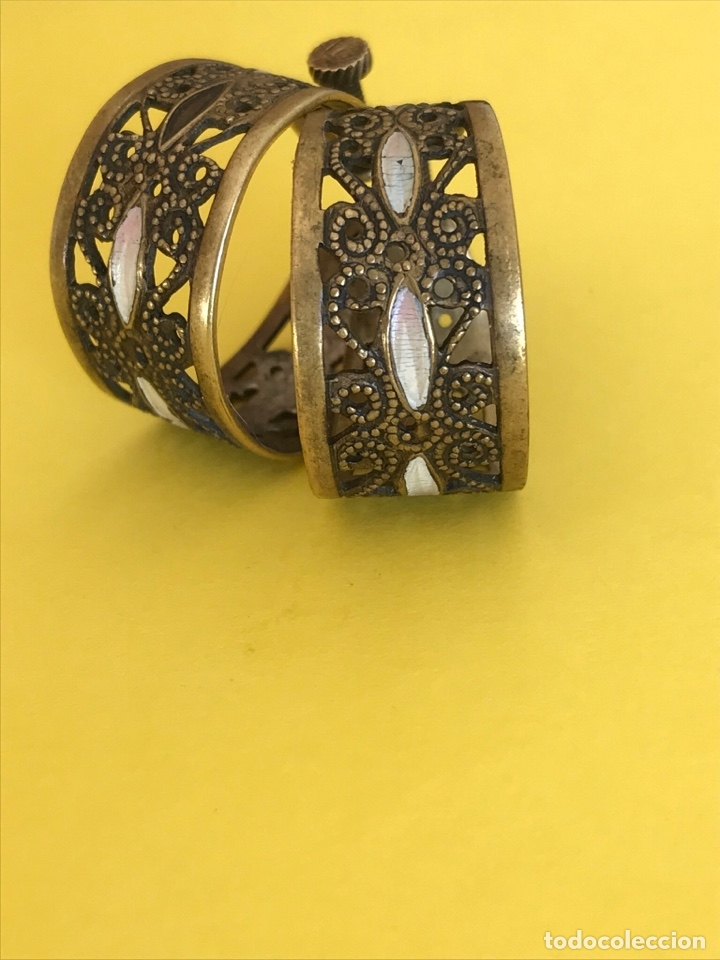 Antigüedades: Antiguos pendientes damasquinados toledo romanos aro tipo anillo bronce ver - Foto 23 - 177546385