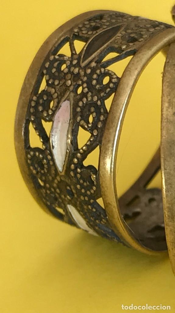 Antigüedades: Antiguos pendientes damasquinados toledo romanos aro tipo anillo bronce ver - Foto 25 - 177546385