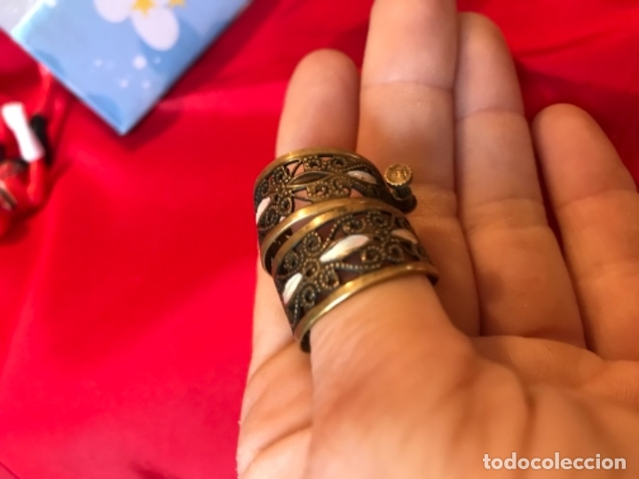 Antigüedades: Antiguos pendientes damasquinados toledo romanos aro tipo anillo bronce ver - Foto 30 - 177546385