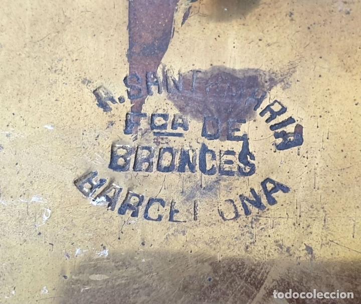 Antigüedades: BENDITERA DE BRONCE DORADO Y MÁRMOL. A. SANTAMARÍA. BARCELONA. SIGLO XX. - Foto 5 - 177548579