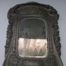 Antigüedades: ANTIGUO ESPEJO TOCADOR ATRIL EN METAL Y CRISTAL BISELADO.. Lote 177559220