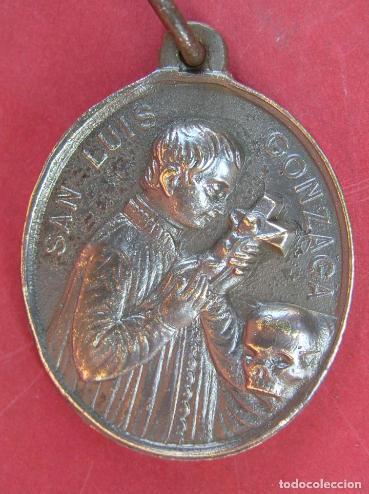 Antigüedades: MEDALLA de bronce de San Luís de Gonzaga / Virgen María . Buen tamaño. - Foto 2 - 177561793