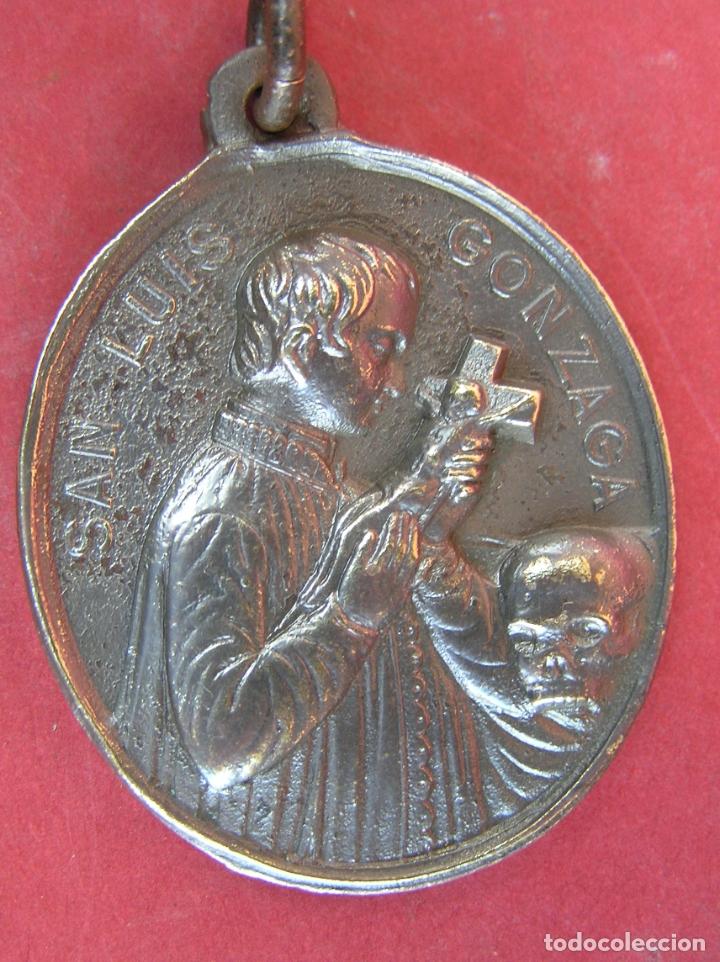 Antigüedades: MEDALLA de bronce de San Luís de Gonzaga / Virgen María . Buen tamaño. - Foto 4 - 177561793