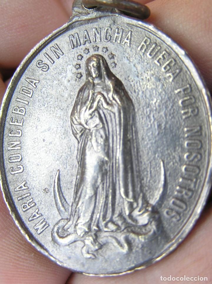 Antigüedades: MEDALLA de bronce de San Luís de Gonzaga / Virgen María . Buen tamaño. - Foto 5 - 177561793