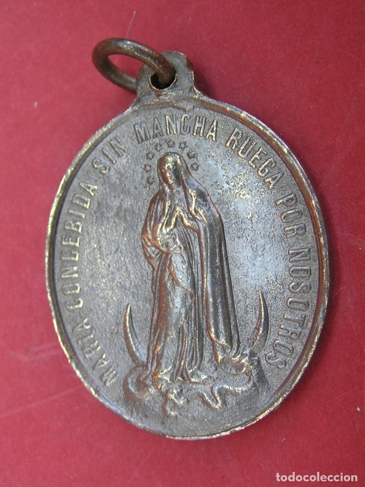 Antigüedades: MEDALLA de bronce de San Luís de Gonzaga / Virgen María . Buen tamaño. - Foto 6 - 177561793