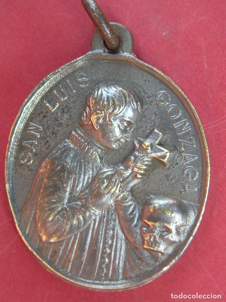 Antigüedades: MEDALLA de bronce de San Luís de Gonzaga / Virgen María . Buen tamaño. - Foto 9 - 177561793