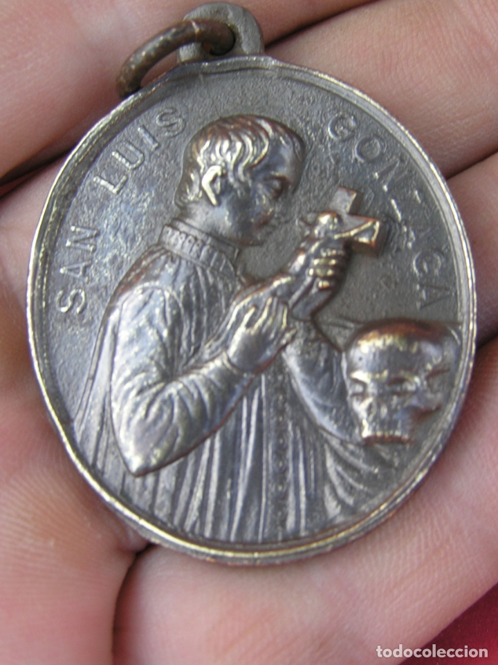 MEDALLA DE BRONCE DE SAN LUÍS DE GONZAGA / VIRGEN MARÍA . BUEN TAMAÑO. (Antigüedades - Religiosas - Medallas Antiguas)