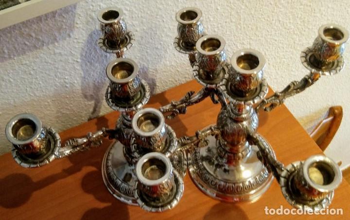 Antigüedades: Pareja candelabros Alpaca o metal plateado - Foto 5 - 177578902