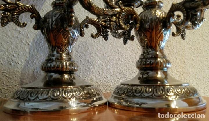 Antigüedades: Pareja candelabros Alpaca o metal plateado - Foto 6 - 177578902