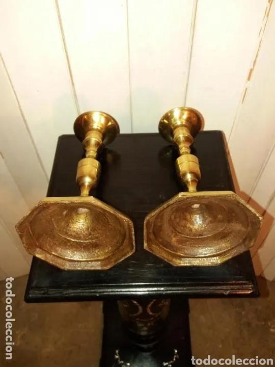Antigüedades: 2 Candelabros pareja año 1920, bronce - Foto 3 - 177588054