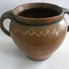 Antigüedades: ANTIGUA ORZA VASIJA BARRO ALFARERÍA POPULAR VIDRIADA Y DECORADA. Lote 177592759