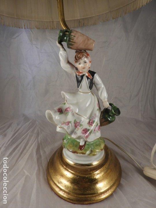 Antigüedades: LAMPARA CON PIE DE FIGURA DE PORCELANA - Foto 2 - 177602920