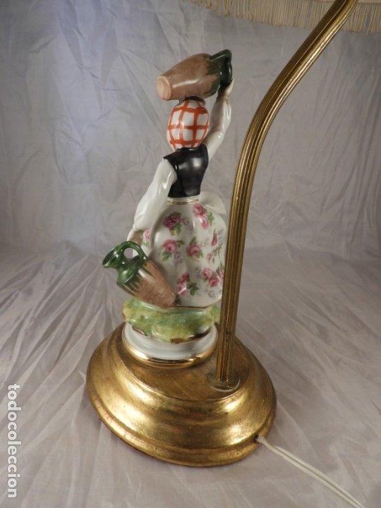 Antigüedades: LAMPARA CON PIE DE FIGURA DE PORCELANA - Foto 4 - 177602920