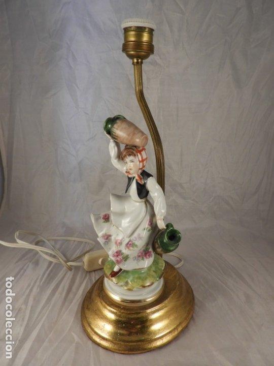 Antigüedades: LAMPARA CON PIE DE FIGURA DE PORCELANA - Foto 6 - 177602920
