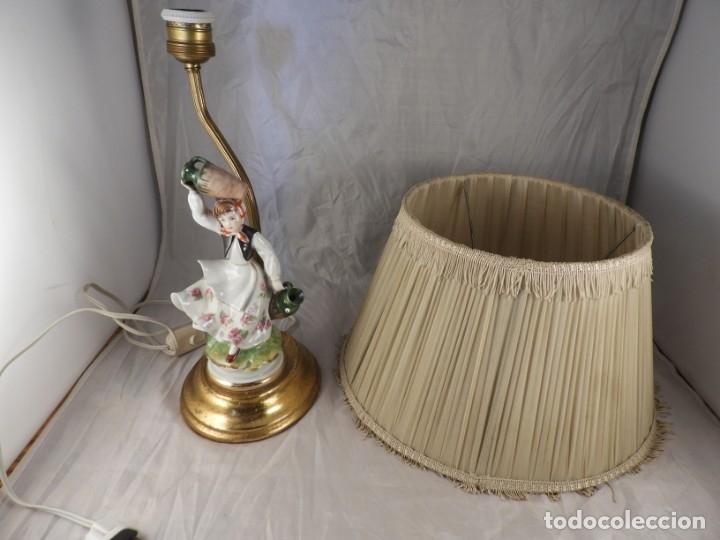 Antigüedades: LAMPARA CON PIE DE FIGURA DE PORCELANA - Foto 7 - 177602920